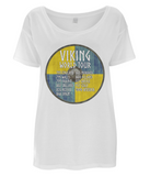 "EP46 This beautiful Organic Eco Women's Oversized Viking T-Shirt in white contains quote set on a Viking shield  ""Viking World Tour"""