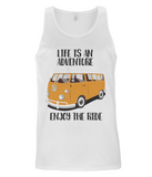 "EP08 Organic Eco Men's Vest contains the quote ""Life is an adventure. Enjoy the Ride"" and features a classic VW camper van in orange"