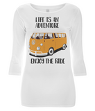 "EP07 Organic Eco Women's 3/4 Sleeve T-Shirt contains the quote ""Life is an adventure. Enjoy the Ride"" and features a classic VW camper van in orange"