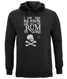 "EP60P Organic Combed Cotton Unisex Black Hoodie contains the humorous Pirate quote ""I am the Reason why all the Rum is Gone"" and includes Captain Jack Sparrow's Flag"