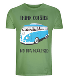 "EP01 Eco Organic Unisex light green T-Shirt with the quote ""Think Outside. No Box Required"" and features a classic VW camper van in turquoise."