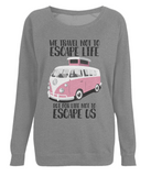"EP66 Eco, Combed Organic Cotton Dark Heather Raglan Sweatshirt contains the quote ""We travel not to escape life - but for life not to escape us"" and features a classic VW camper van in pink."