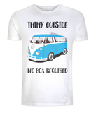 "EP01 Eco Organic Unisex white T-Shirt with the quote ""Think Outside. No Box Required"" and features a classic VW camper van in turquoise."