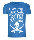 "EP01 Organic Combed Cotton Unisex bright blue T-Shirt with the famous Calico Jack skull and crossed cutlas and the humorous Pirate quote ""I am the Reason why all the Rum is Gone"""