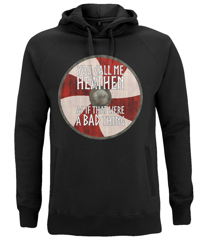 "EP60P Organic Combed Cotton Unisex Viking Hoodie in black with quote set on a Viking shield  ""You Call Me Heathen - As If That Were a Bad Thing"""