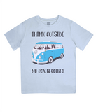 "EPJ01 Organic Combed Cotton Children's T-Shirt in Light Blue, contains the quote  ""Think Outside, No Box Required"""