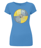 "EP04 Organic Combed Cotton Women's Slim Fit bright blue T-Shirt contains a quote set on a Viking shield ""Viking World Tour"""