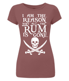 "EP04 Eco Organic Women's Slim Fit dark red T-Shirt features a skull and crossed cutlas design with Pirate quote ""I am the Reason why all the Rum is Gone"""