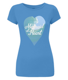 "EP04 Eco and Organic Women's Slim-Fit bright blue T-Shirt features a watercolour ocean wave and the quote ""Mermaid at Heart"" enclosed together in a heart"