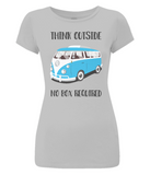"EP04 Organic and Eco Women's Slim-Fit light grey T-Shirt contains the thoughtful quote ""Think Outside, No Box Required"" and features a classic VW camper van in turquoise blue."