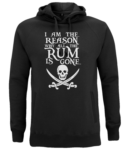 "EP60P Organic Combed Cotton Unisex Black Hoodie features the famous Calico Jack skull and crossed cutlasses along with the humorous Pirate quote ""I am the Reason why all the Rum is Gone"""