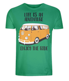 "EP01 Organic Eco Unisex green T-Shirt contains the quote ""Life is an adventure. Enjoy the Ride"" and features a classic VW camper van in orange"