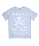 "EPJ01 Organic Combed Cotton Children's T-Shirt in Light Blue contains the quote  ""Pirates - putting the naughty into nautical since 1650"""
