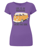 "EP04 Organic Eco Women's Slim-Fit green T-Shirt contains the quote ""Life is an adventure. Enjoy the Ride""and features a classic VW camper van in orange"