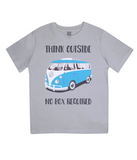 "EPJ01 Organic Combed Cotton Children's T-Shirt in Melange Grey, contains the quote  ""Think Outside, No Box Required"""