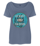 "EP46 Organic Eco Women's Oversized Viking T-Shirt in denim blue contains quote set on a Viking shield ""Live Bravely - Do Right - Fear Nothing"""