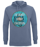 "EP60P Organic Combed Cotton, Unisex Faded Denim Hoodie with a quote set on a Viking shield ""Live Bravely - Do Right - Fear Nothing"""