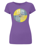 "EP04 Organic Combed Cotton Women's Slim Fit purple T-Shirt contains a quote set on a Viking shield ""Viking World Tour"""