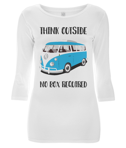 "EP07 Eco Organic Women's 3/4 sleeve white T-Shirt contains the quote ""Think Outside. No Box Required"" and features a classic VW camper van in turquoise."