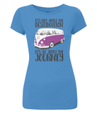 "EP04 Eco and Organic, women's slim-fit bright blue T-Shirt with quote ""It's not about the destination. It's all about the Journey"" and a classic VW camper van image in purple."