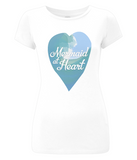 "EP04 Eco and Organic Women's Slim-Fit white T-Shirt features a watercolour ocean wave and the quote ""Mermaid at Heart"" enclosed together in a heart"
