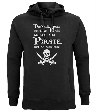 "EP60P Organic Combed Cotton Unisex Black Hoodie features the famous Calico Jack skull and crossed cutlasses along with the humorous Pirate quote ""Drinking Rum before 10am makes you a Pirate not an Alcoholic"""