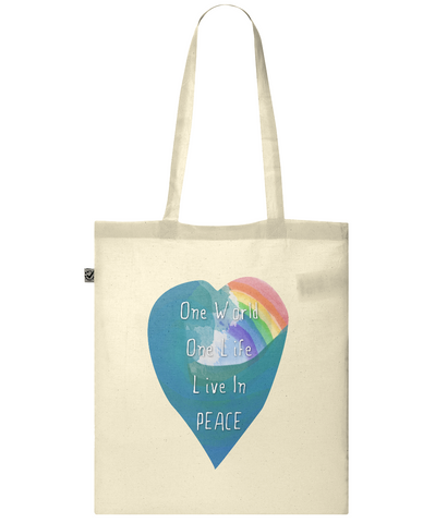 Organic Eco Tote Bag One world  rainbow