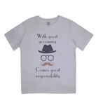 "EPJ01 ""With great grooming comes great responsibility"" :o) This soft Organic Eco Children's T-shirt Melange Grey"