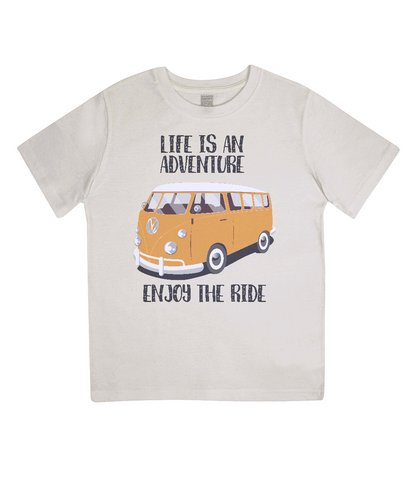 "EPJ01 Organic Combed Cotton Children's T-Shirt in Ecru, contains the quote  ""Life is an adventure. Enjoy the Ride"""