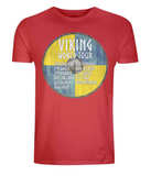 "EP01 Organic Cotton Eco T-Shirt in red, contains quote ""Viking World Tour"" and is set on a blue and yellow Viking shield"