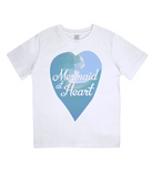 "EPJ01 Organic Combed Cotton Children's T-Shirt in White, contains the quote  ""Mermaid at Heart"""