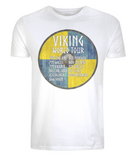 "EP01 Organic Cotton Eco T-Shirt in white, contains quote ""Viking World Tour"" and is set on a blue and yellow Viking shield"