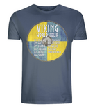 "EP01 Organic Cotton Eco T-Shirt denim blue, contains quote ""Viking World Tour"" and is set on a blue and yellow Viking shield"