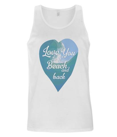"EP08 Organic and Eco Men's Vest features a watercolour ocean wave and the quote ""Love You to the beach and back"" enclosed together in a heart"