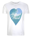 "EP01 Eco and Organic unisex white T-Shirt with a watercolour ocean wave and the quote ""Mermaid at Heart"" enclosed a heart"