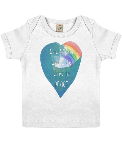 "EPB01 Organic Cotton Baby T-shirt in White features a watercolour ocean wave and rainbow and the quote ""One World Live in Peace"" enclosed together in a heart"