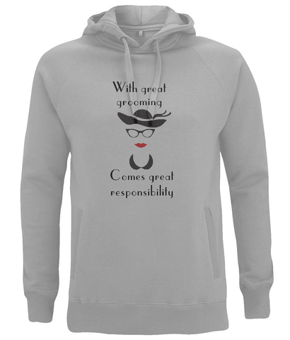 "EP60P ""With great grooming comes great responsibility"" Melange Grey Organic Eco Hoodie"