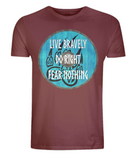 "EP01 Organic dark red T-Shirt contains an emotive quote ""Live Bravely, Do Right, Fear Nothing"" and is set on a turquoise Viking shield featuring a bear claw design"
