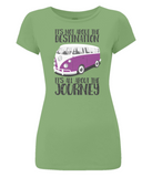 "EP04 Eco and Organic, women's slim-fit light green T-Shirt with quote ""It's not about the destination. It's all about the Journey"" and a classic VW camper van image in purple."