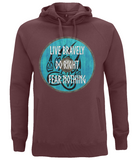 "EP60P Organic Combed Cotton, Unisex Claret Red Hoodie with a quote set on a Viking shield ""Live Bravely - Do Right - Fear Nothing"""