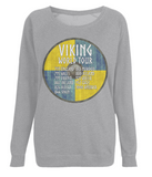 "EP66 Organic Combed Cotton, Light Heather Raglan Sweatshirt contains an amusing quote set on a Viking shield ""Viking World Tour"""