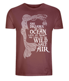 "EP01 Organic and Eco Combed Cotton Unisex dark red T-Shirt contains the mermaid quote ""She Dreams of the Ocean late at night and Longs for the Wild Salt Air"""