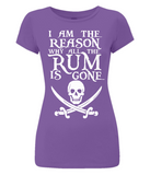 "EP04 Eco Organic Women's Slim Fit pirate T-Shirt in purple, featuring a skull and crossed cutlas design with Pirate quote ""I am the Reason why all the Rum is Gone"""