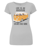 "EP04 Organic Eco Women's Slim-Fit light grey T-Shirt contains the quote ""Life is an adventure. Enjoy the Ride""and features a classic VW camper van in orange"