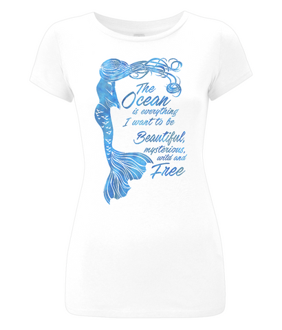 Organic Eco Women's Slim-Fit Mermaid T-Shirt - The Ocean is Everything