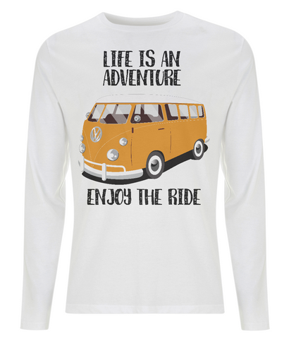"EP01L Eco Men's long sleeve white T-Shirt contains the quote ""Life is an adventure. Enjoy the Ride"" and features a classic VW camper van in orange"
