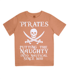 "EPJ01 Organic Combed Cotton Children's T-Shirt in Orange contains the quote  ""Pirates - putting the naughty into nautical since 1650"""