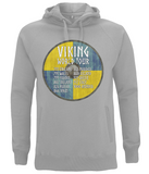 "EP60P Organic Combed Cotton Unisex Melange Grey Hoodie contains an amusing quote set on a Viking shield ""Viking World Tour"""