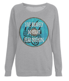 "EP66 Organic Combed Cotton, Light Heather Raglan Sweatshirt contains an inspirational and emotive quote set on a Viking shield ""Live Bravely - Do Right - Fear Nothing"""