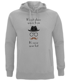 """It's not where you're from, it's wear your hat"" Melange Grey Organic Eco Hoodie"